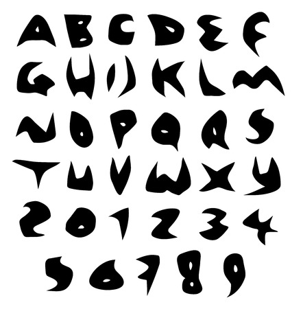 creepy alphabet sharp vector fonts in black over white