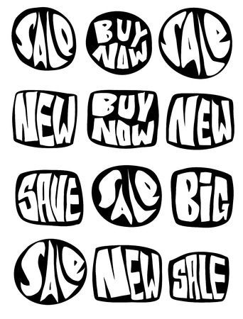 marketing sale slogan button collection over white
