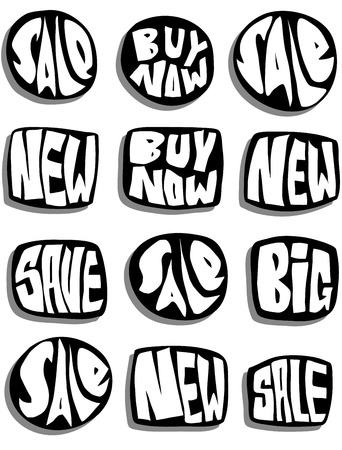marketing sale slogan button collection over white with shadow