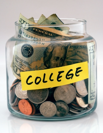 "A lot of money in a glass bottle labeled ""College�"