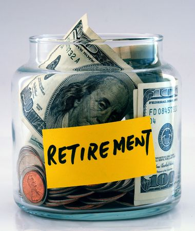 "A lot of money in a glass bottle labeled ""Retirement�"