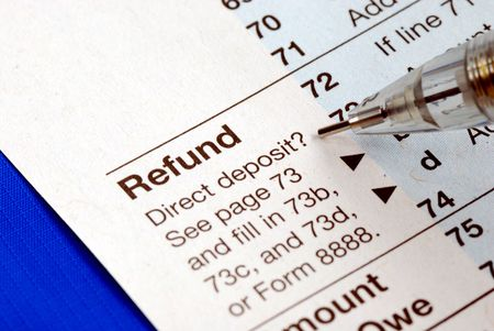 Getting refund from the income tax return isolated on blue