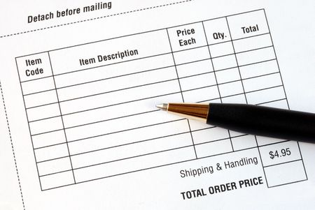 Fill in the purchase items in an order form