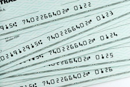 Photo pour A pile of bank checks - image libre de droit