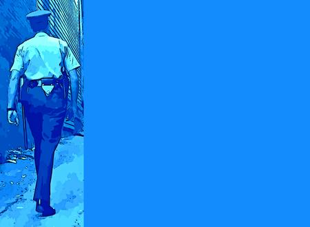 Photo for Graphic design of a policeman walking the beat with space to add details for specifics to be added. - Royalty Free Image