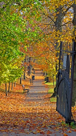 Open gate to Halifax Public Garden in the Fall.