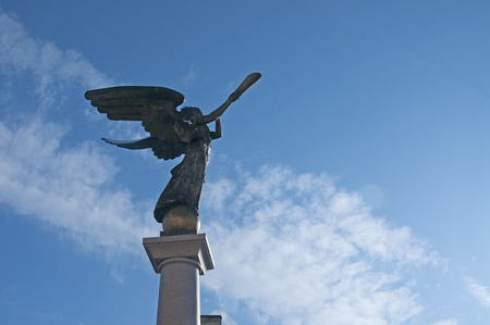 Statue of an angel at Uzupio, a bohemian and artistic district in Vilnius, Lithuania.