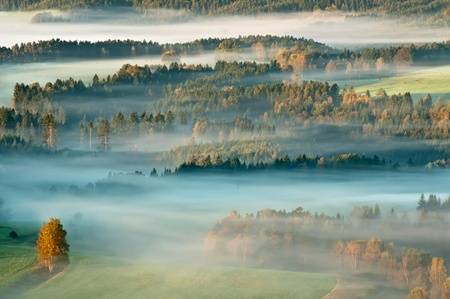 Sunrise in a beautiful mountain of Czech-Saxony Switzerland.