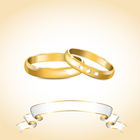illustration with gold wedding rings and white ribbon
