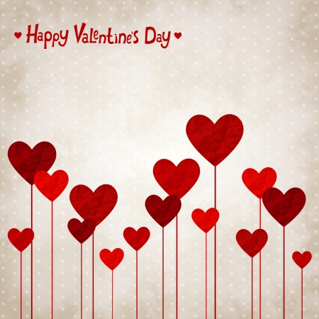 Vector illustration for Valentines day with the heart of crumpled paper