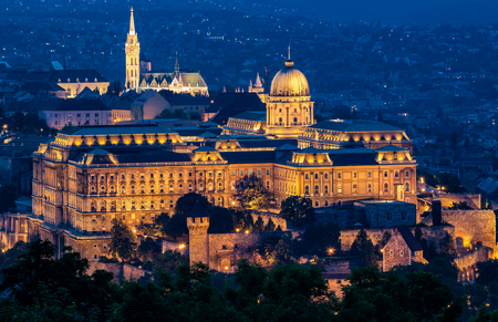 Close-up of illuminated Buda Castle in Budapest at twilight