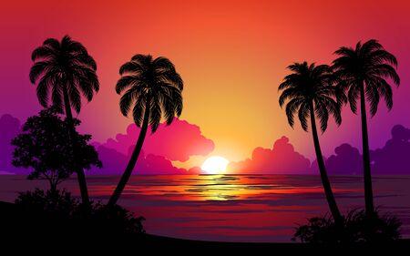 Illustration pour beautiful sunset at tropical beach - image libre de droit