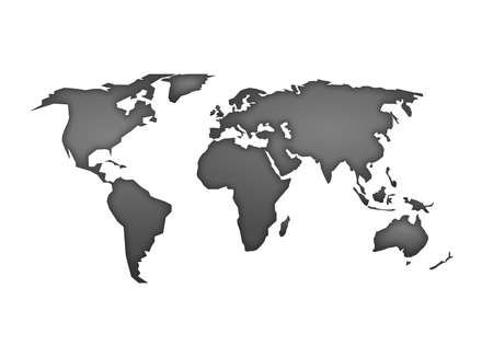 Illustration pour World map vector, isolated on white background. Flat Earth, gray map template for web site pattern, anual report, inphographics. Globe worldmap material icon. Travel worldwide, silhouette backdrop. - image libre de droit