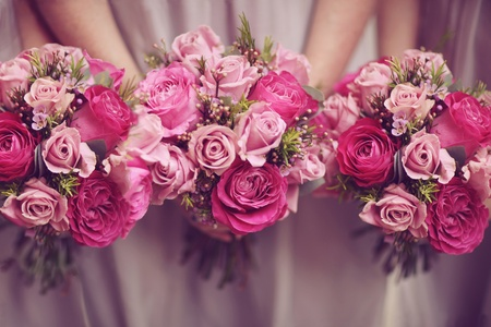 Trio of Rose Posy Wedding Bouquets