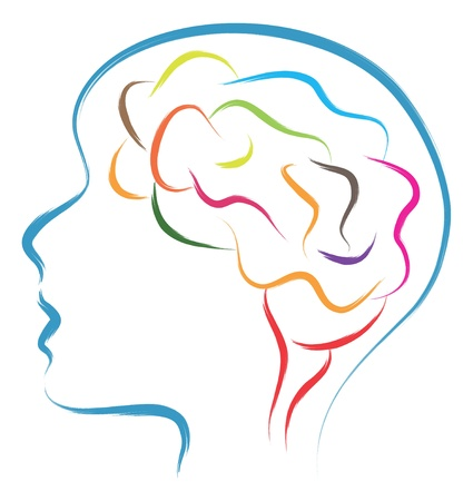 Illustration for head and brain abstract illustration - Royalty Free Image