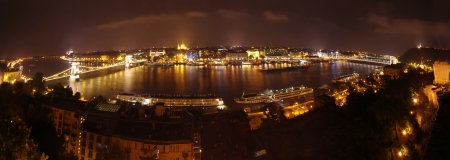Budapest wide panorama, night scene view from Royal Palace