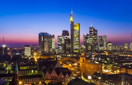 Photo for cityscape of Frankfurt am Main city at sunset - Royalty Free Image