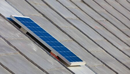 Photo pour solar photovoltaic panel on the old house - image libre de droit