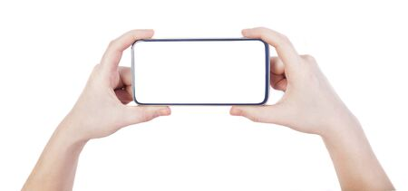 Photo pour woman hands holding smartphone with white screen and background - image libre de droit