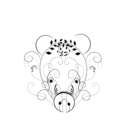 Vector illustration of abstract pig