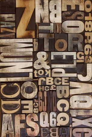 letterpress wooden blocks viewed from above flat on