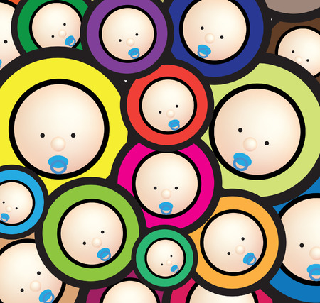 Illustration for Illustration of  a funky baby wallpaper bright background - Royalty Free Image