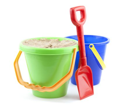 bucket and spade clsoe up on white background
