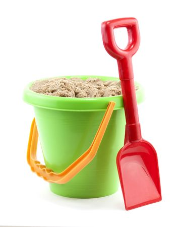 bucket and spade close up on white background