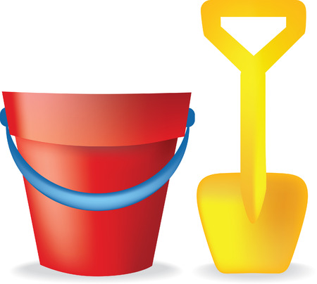 toy bucket and spade illustration on white background