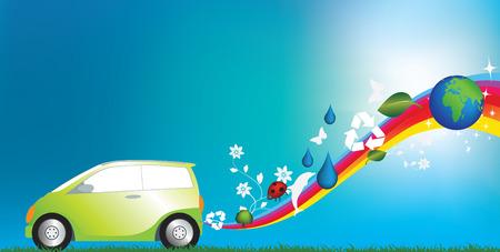 illustration of an environmentally freindly green car