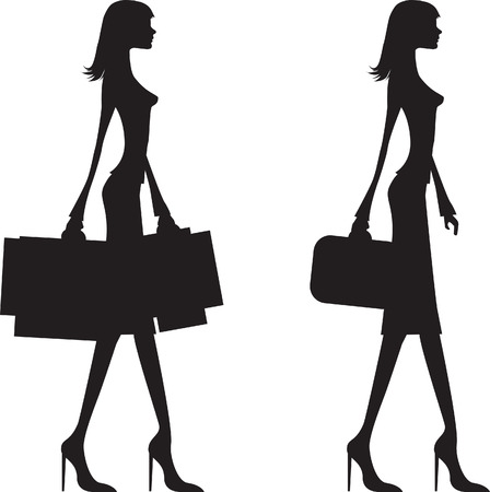 woman shopping and business woman black silhouette,