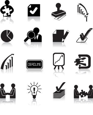 business deals icons set, black silhouette illustrations
