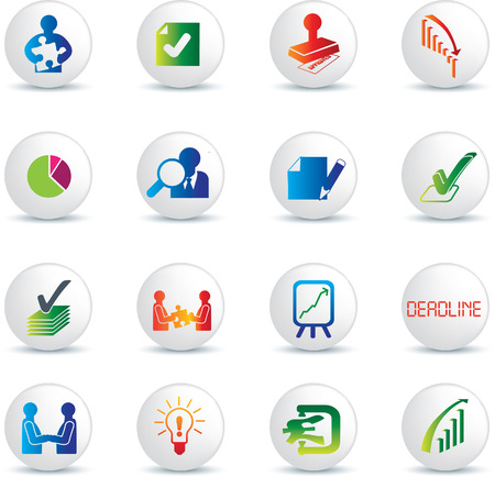 business deals illustration icon collection on white buttons