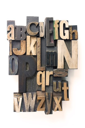 the english alphabet in wooden letterpress printing blocks