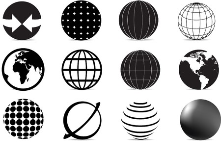 set of black and white globe icons and symbols