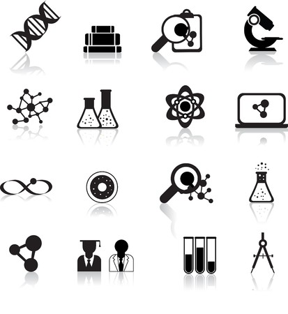 set of black scientofic silhouette icons with reflection