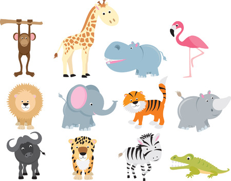 Photo for set of animal icons and cartoons of wild animals. - Royalty Free Image