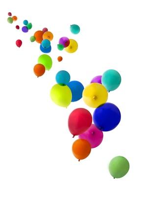 Balloons isolated on a white background floating upwards