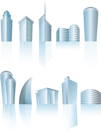 illustration of business city buildings on white