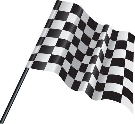 illustration of a black and white motor racing finishing checked flag