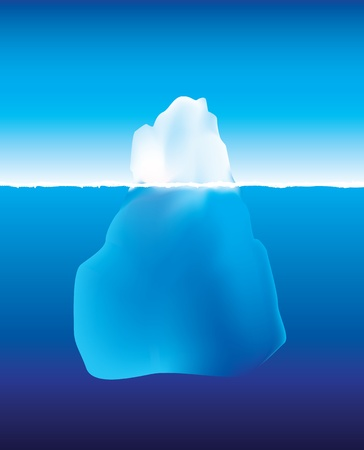 an illustration using gradient mesh of an iceberg under and above the water