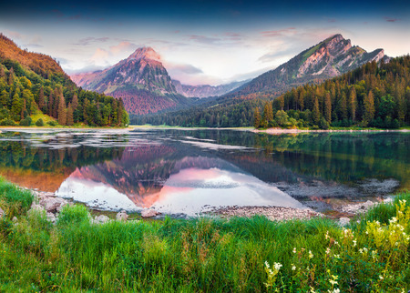 Colorful summer sunrise on the incredibly beautiful Swiss lake Obersee, located near Nafels village. Alps, Switzerland, Europe.