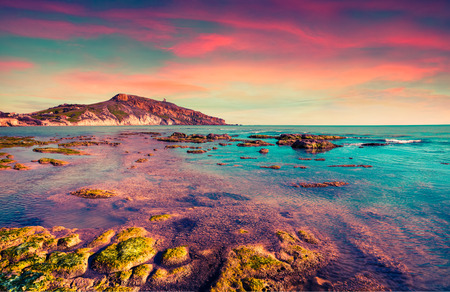 Colorful spring sunset from the Giallonardo beach, Sicily, Italy, Tyrrhenian sea, Europe. Instagram toning.