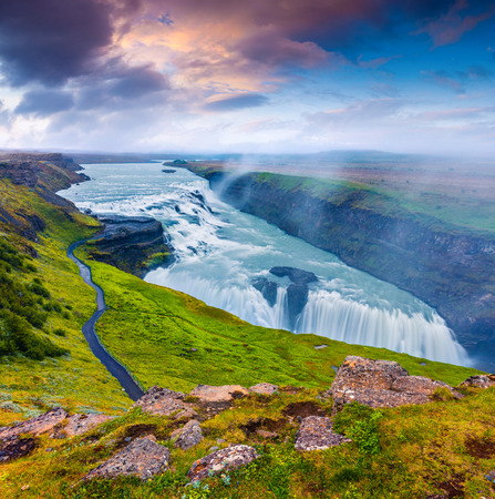 Photo pour Huge waterfall Gullfoss in the morning mist. Colorful summer sunrise on Hvita river in southwest Iceland - image libre de droit