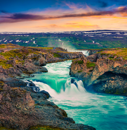 Photo pour Picturesque summer morning scene on the Godafoss Waterfall. Colorful sunrise on the on Skjalfandafljot river, Iceland, Europe. Artistic style post processed photo. - image libre de droit