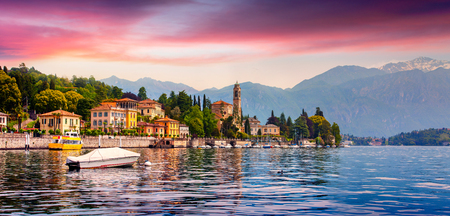 Photo pour Colorful summer panorama of the Mezzegra town. Dramatic morning scene on the Como lake, province of Lombardy, Italy, Europe. Beautiful sunrise in the Italian Alps. Beauty of countryside concept background.  - image libre de droit