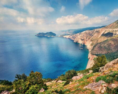 Photo pour Aerial spring view of Asos peninsula and town. Romantic morning seascape of Ionian Sea. Exciting outdoor scene of Kephalonia island, Greece, Europe. Traveling concept background. - image libre de droit