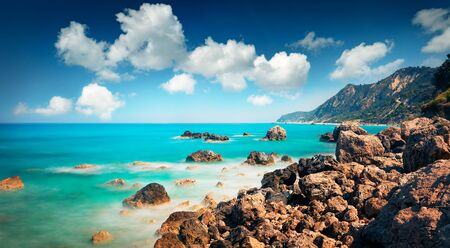 Photo pour Panoramic spring view of Avali Beach. Exciting morning seascape of Ionian sea. Splendid outdoor scene of Lefkada Island, Greece, Europe. Beauty of nature concept background. - image libre de droit