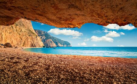 Photo for Colorful spring view of Porto Katsiki Beach. Stunning morning seascape of Ionian sea. Picturesque outdoor scene of Lefkada Island, Greece, Europe. Beauty of nature concept background. - Royalty Free Image
