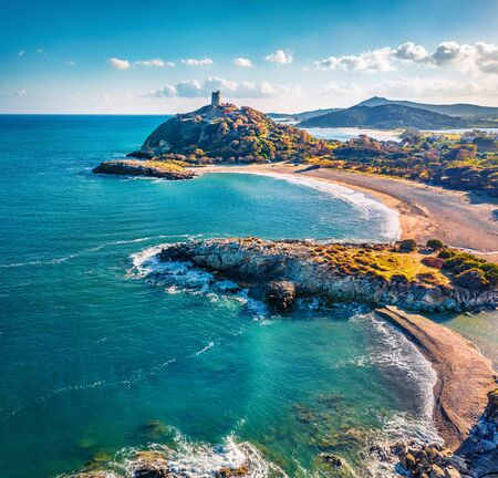 Foto de View from flying drone. Captivating summer view of popular tourist destination - Acropoli di Bithia with Torre di Chia tower on background. Stunning morning view of Sardinia island, Italy, Europe. - Imagen libre de derechos